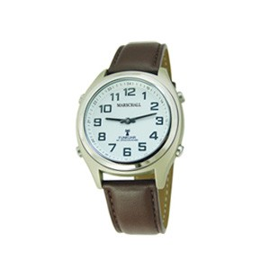 Funk-Armbanduhr mit Sprachausgabe und Lederarmband