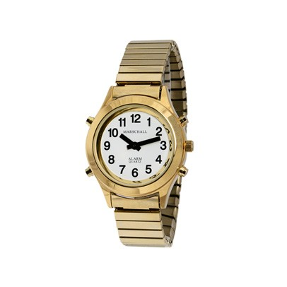 Blindenarmbanduhr White Edition Gold-Metall