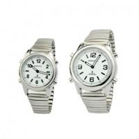 Sprechende Funk-Armbanduhr Metall-Zugarmband silber