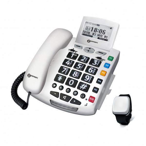 Sprechendes Notruftelefon Geemarc Serenities mit Notrufarmband