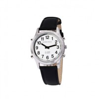 Sprechende Armbanduhr White Edition Silber mit Lederarmband